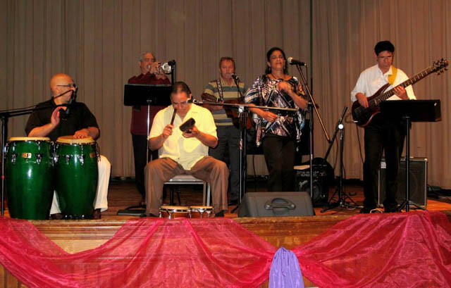 Edwin Pabon Cuban Salsa Band playing at the Oakes Ames Hall Music Series